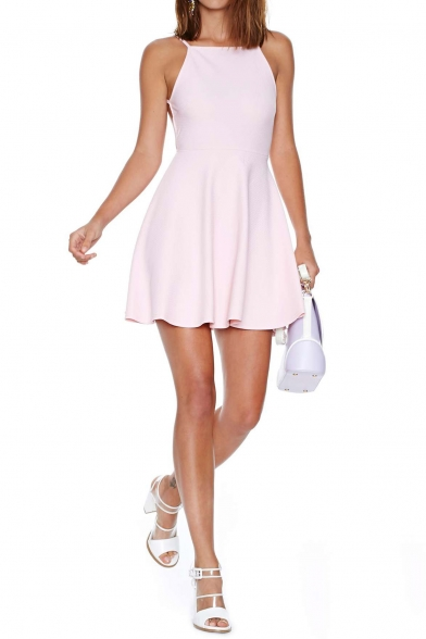 Sexy plain backless skater mini dress with high rise