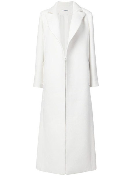 oscar de la renta coat long coat long women spandex white wool