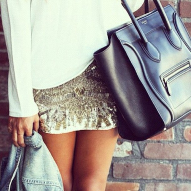 skirt clothes outfit white top long sleeves sequins gold white black tote bag denim jacket