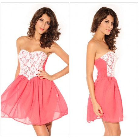 strapless cute women sweetheart lace Dipped High Waist Cute Ladies' Strapless Cocktail Dress lml6001 - lol-malls - Trustful Online Shopping for Women Dresses