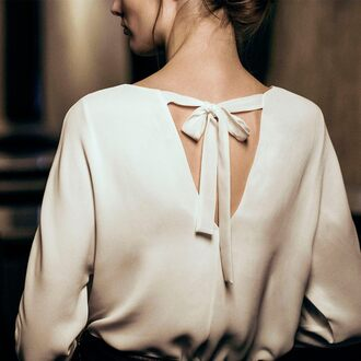 blouse silk top tumblr open back white top silk white blouse long sleeves