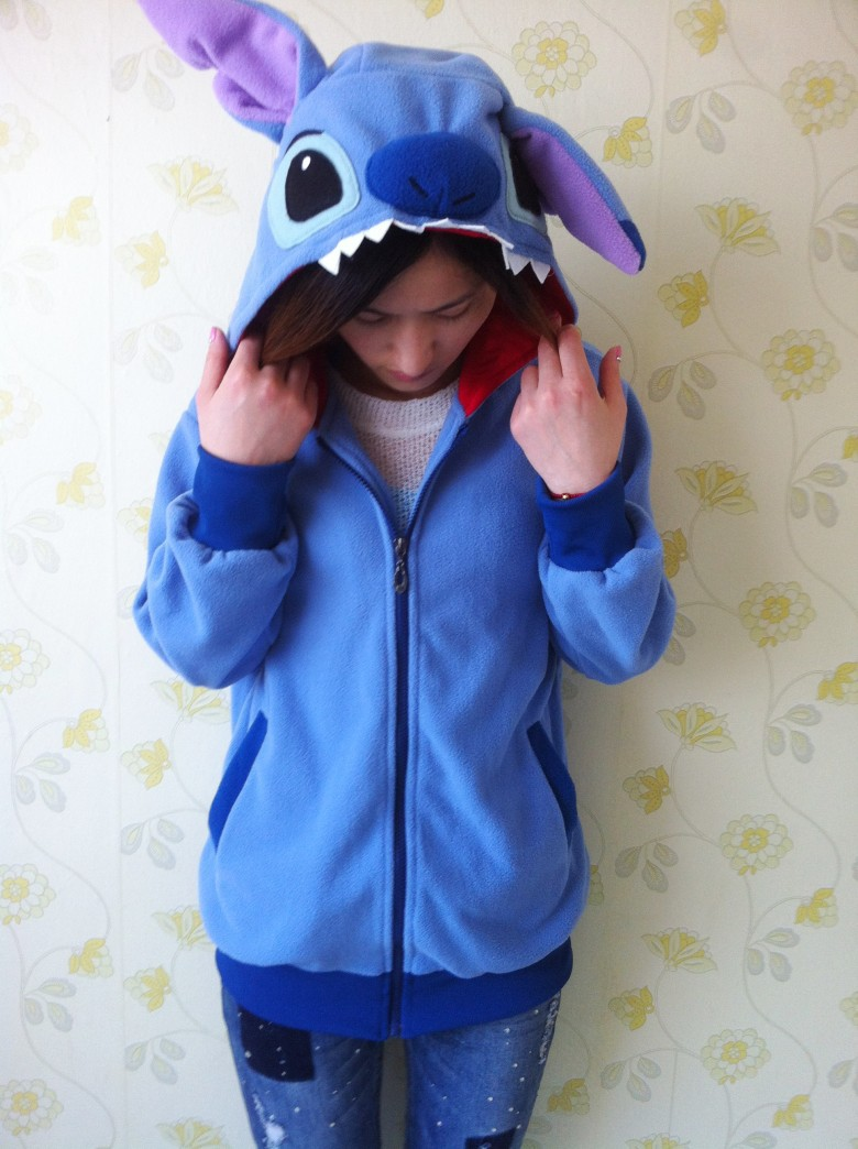 Winter Anime Animal Cute Cartoon Women Men's Blue Stitch Hoodie with Ears Hooded Hoody Coat Jacket Warm Polar Fleece Plus Size-in Hoodies & Sweatshirts from Apparel & Accessories on Aliexpress.com