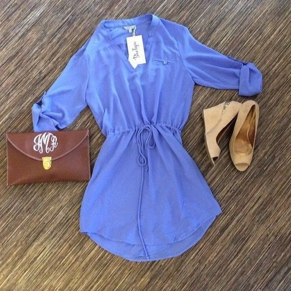 brown bag shoes dress blue blue dress shabby chic chic classy drawstring waist drawstring shirtdress pale blue pastel unknown brand loose dress floaty dress leather clutch caramel shoes high heels peeptoe collarless pocket leather brown bag
