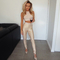 Foil stripes two piece bandage top & leggings nude