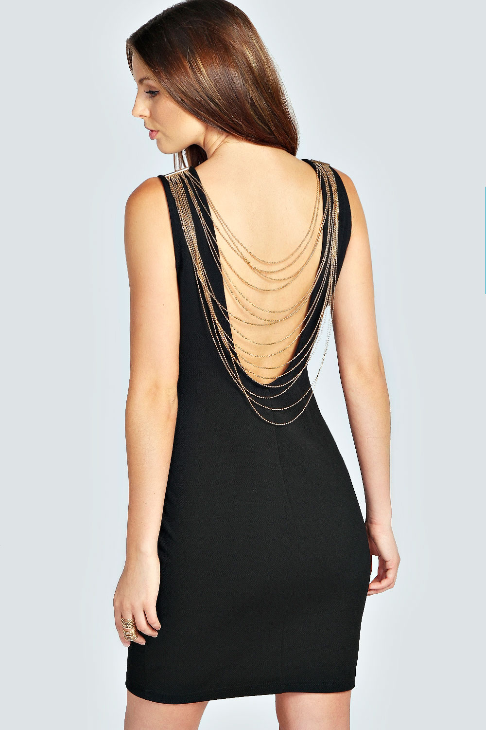 Larna Chain Draped Back Bodycon Dress