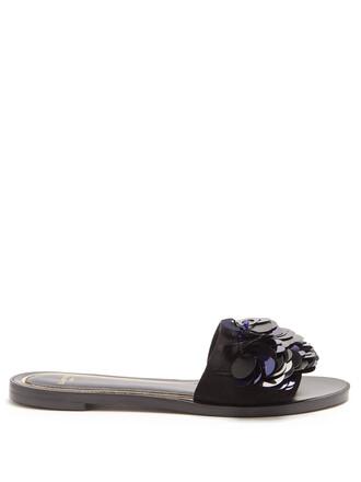 embellished suede navy black shoes
