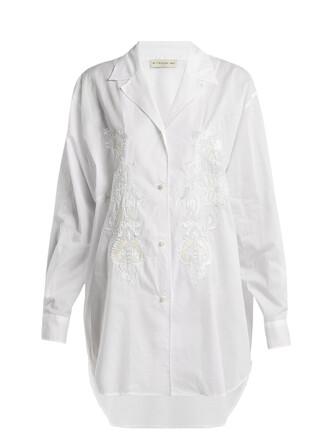 shirt embellished cotton white top