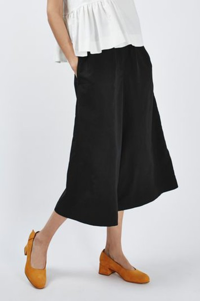 culottes cropped black pants