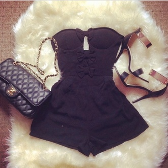 dress black jumpsuit bow lovely perfection classy bag shoes