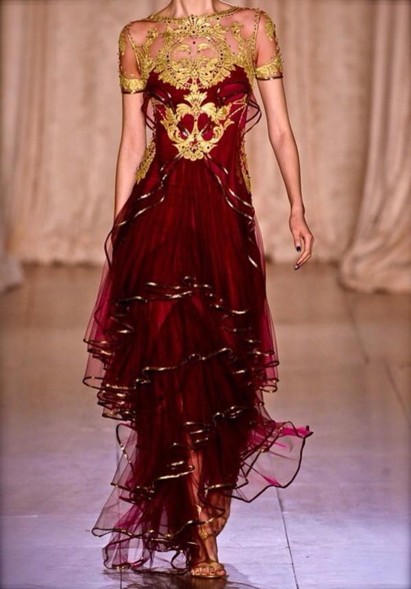 marchesa red dress long dress dress
