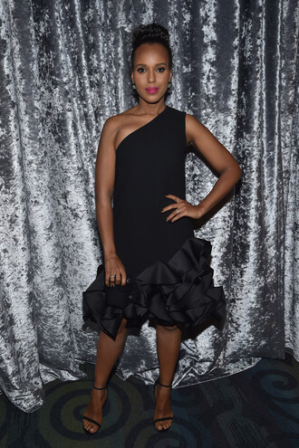 dress one shoulder dress black dress cocktail dress kerry washington sandals asymmetrical dress shoes