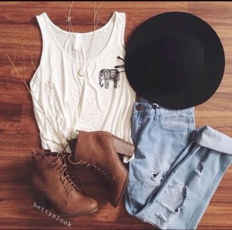 tank top boho indie hippie hipster sunhat distressed light wash heels outfit boots summer spring tumblr shoes pants hat