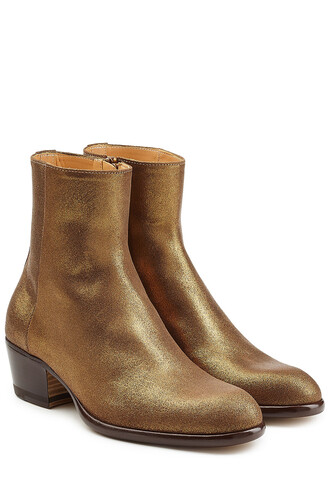 leather ankle boots boots ankle boots leather gold shoes