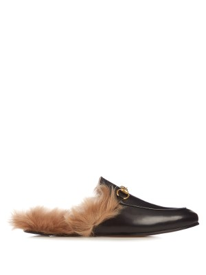 Princetown fur-lined leather loafers | Gucci | MATCHESFASHION.COM US