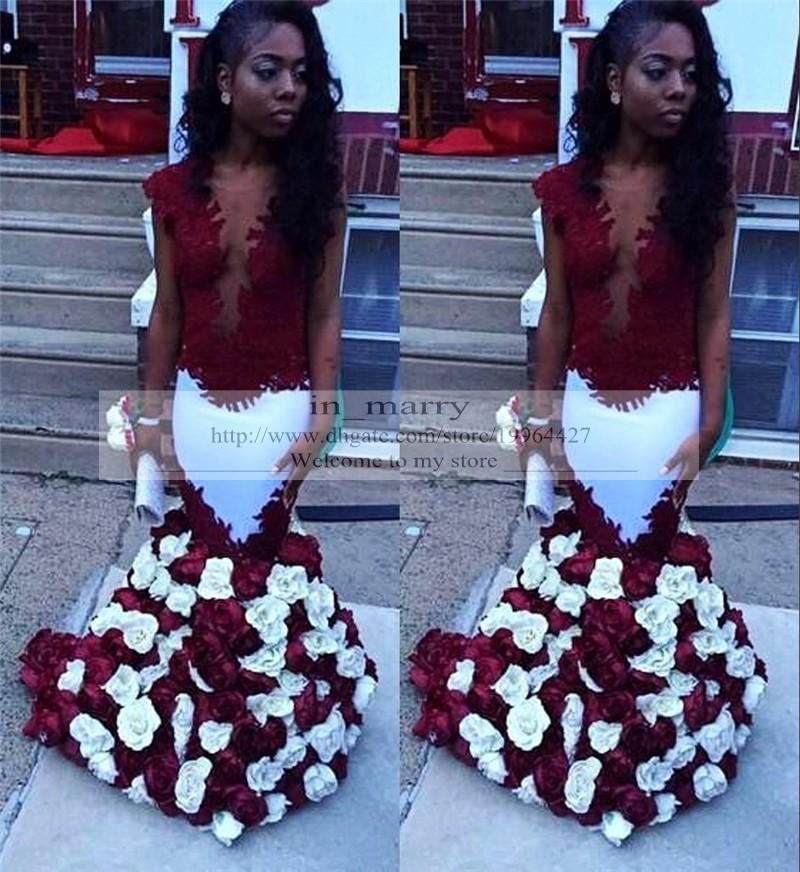 Red White Vintage Lace Evening Dresses Flowers Skirt 2016 Mermaid ...