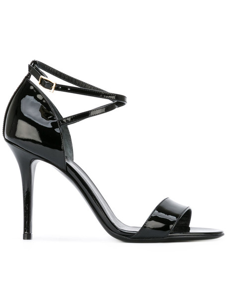 Armani Collezioni ankle strap women sandals leather black shoes