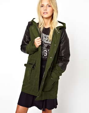 ASOS | ASOS Parka With Detachable Faux Fur Lining & Quilt Detail Sleeve at ASOS