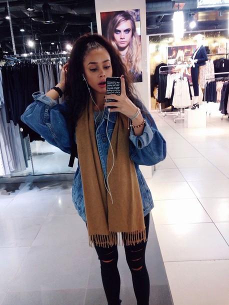 jacket pants mixed girl jsavannah black girls killin it urban denim jacket ripped jeans outfit scarf black denim brown curly hair forever 21 instagram tumblr girl