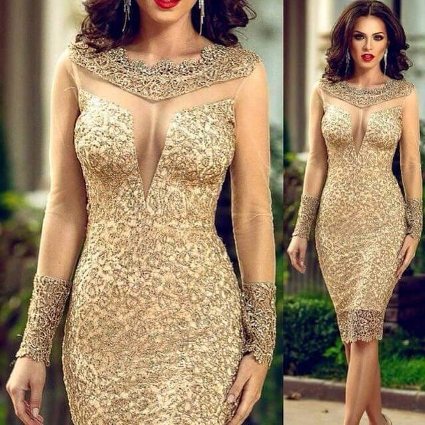 dress gold midi dress elegant party dress graduation dress wedding fancy women sexy