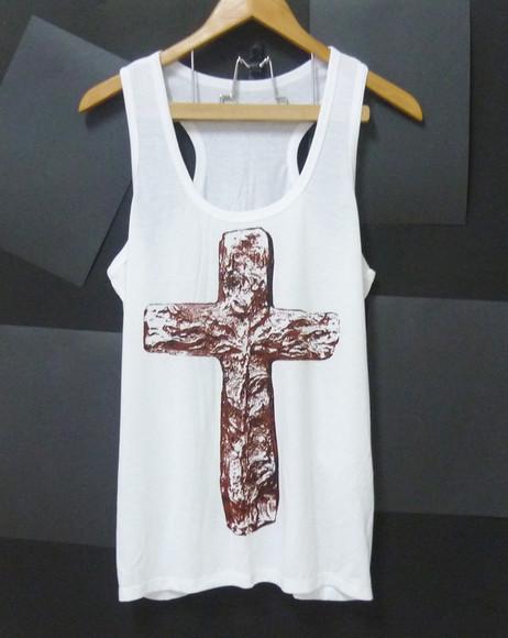 tank top cross shirt baptism shirts jesus shirts whie singlet men tank tops women tank tops shirt cross