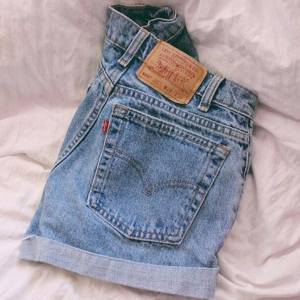 Grade A Levi's Blue Stonewash Denim High Waisted Shorts Bargain ...