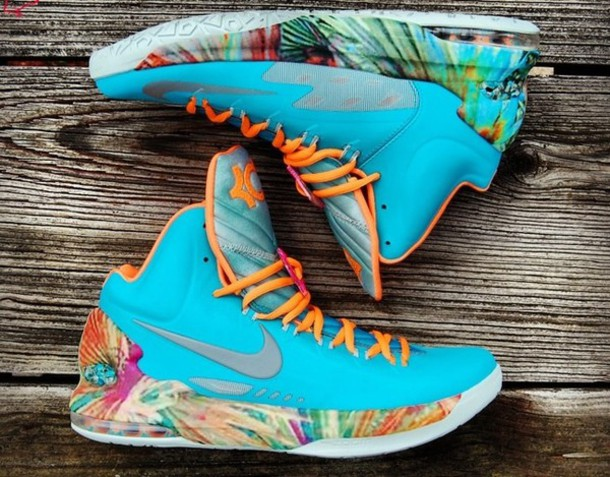 pretty nice bfcce c1f81 shoes kd 5 floral miami light blue nike shoes blue high top sneakers