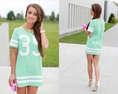dress,shirt,jersey dress,mint is the color,baseball shirt,mini dress,summer dress,spring outfits,t-shirt dress,baseball jersey dress,t-shirt,shoes,hat