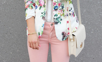jacket clothes floral blouse pink pants coat blazer trendy pastel pants