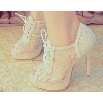 shoes lace booties white