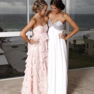 dress light pink ruffles layers prom dress maxi pink layers ruffle