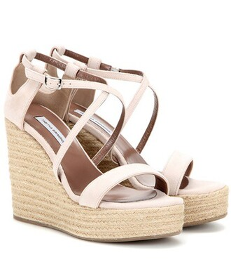 sandals wedge sandals suede pink shoes