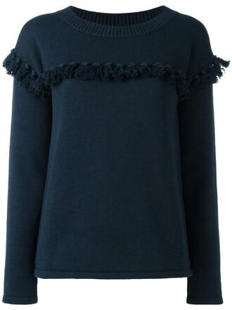 jumper tassel women cotton blue wool sweater