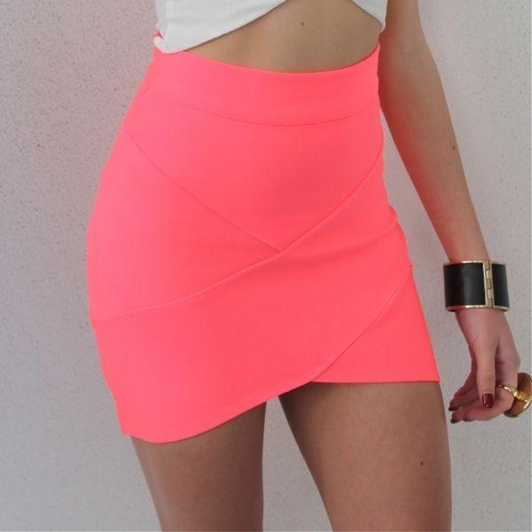 Neon Pink Bandage Wrap Tube Disco Skirt 6 8 10 12 | eBay