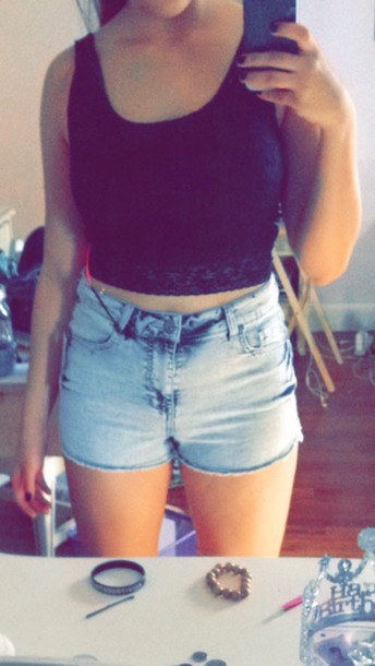 shorts high waisted lace crop tops black crop top
