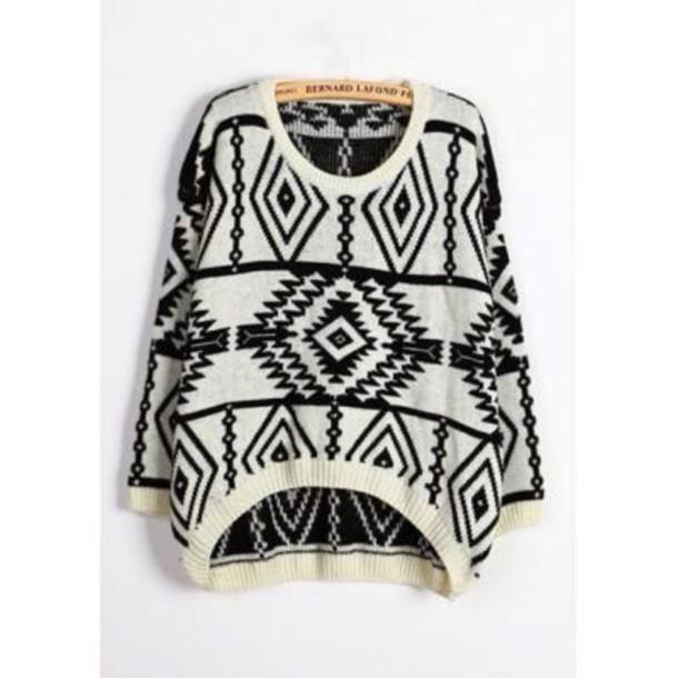 sweater pull hiver noir  et blanc