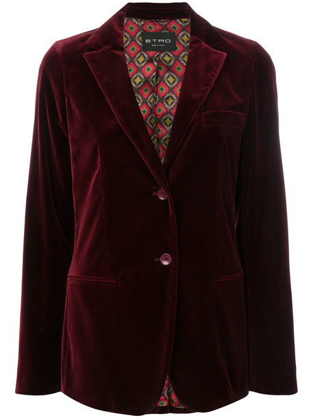 ETRO blazer women spandex cotton velvet red jacket
