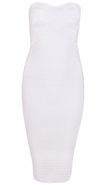 Bandeau Midi Bandage Dress White