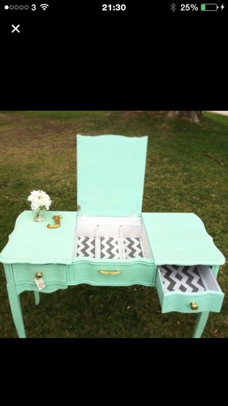 home accessory mint chevron makeup table