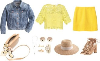 cost with me blogger jacket scarf yellow top lace top denim jacket sun hat sandal heels sunglasses watch pencil skirt shoulder bag