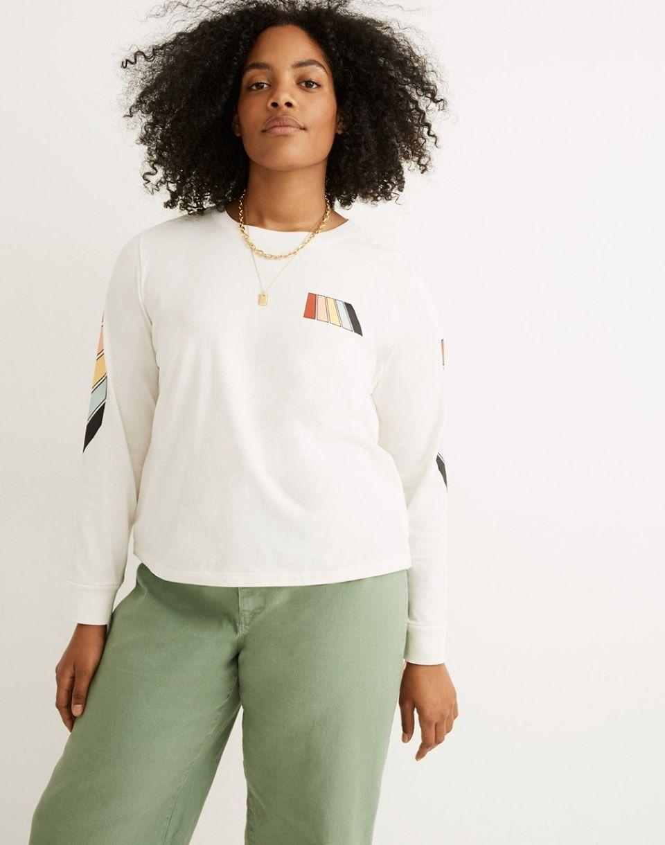 Women's Madewell x Free & Easy Rainbow Graphic Long-Sleeve Tee