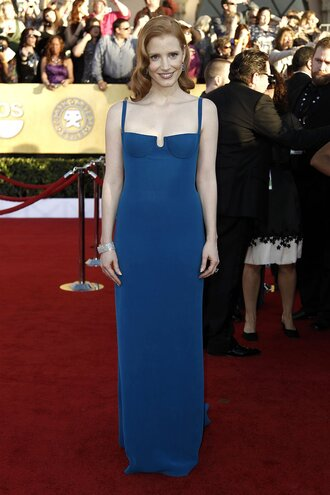 dress jessica chastain calvin klein dress calvin klein celebrity red carpet dress blue dress maxi dress hairstyles