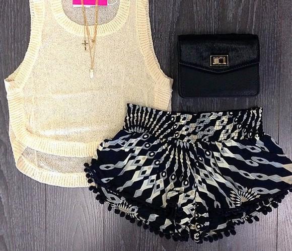 shorts white black
