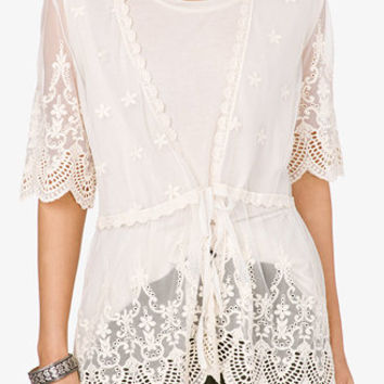 Embroidered Mesh Cardigan   FOREVER 21 - 2036031510 on Wanelo