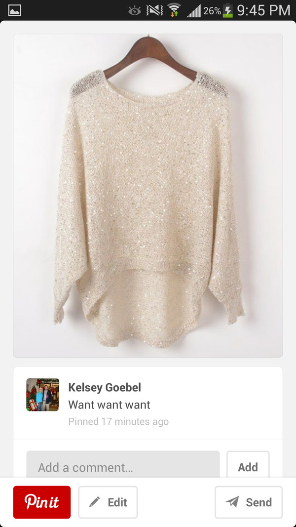 sweater beige bling