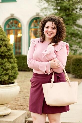 theadoredlife blogger top skirt bag shoes jewels pink blouse mini skirt pink bag curvy spring outfits