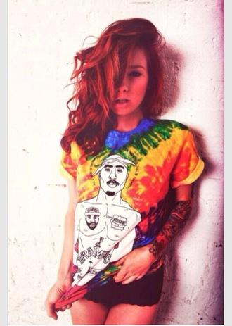 tie dye tupac tupac shirt t-shirt shirt