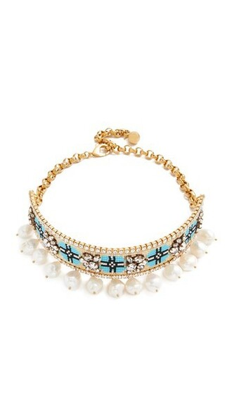 necklace choker necklace blue jewels