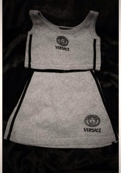 grey cute shirt top skirt dress sport girl outfit trill swag designer grunge cool versace versace style two peice