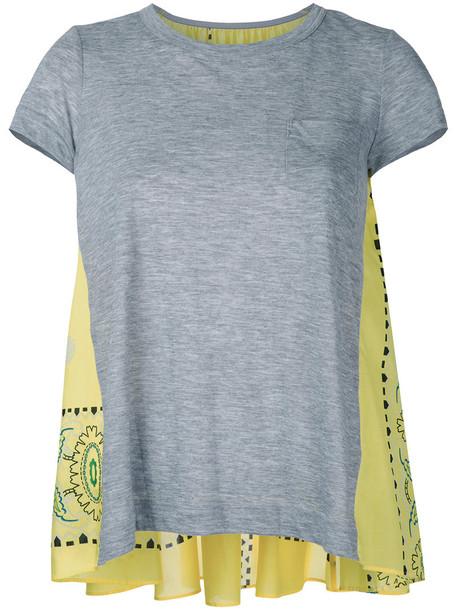 Sacai t-shirt shirt t-shirt back women grey top