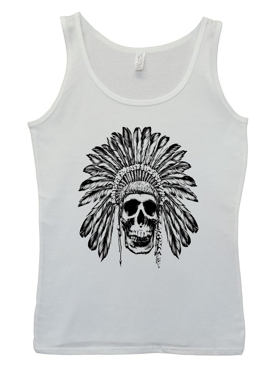Amazon.com: skull indian chief native festival white women tank top vest: clothing